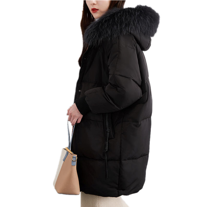 Fashion Real Fur Collar Winter Jacket Coat Hooded Parka Slim Plus Size Long Coat Outerwear Down Cotton Ladies Parka Jacket Q646