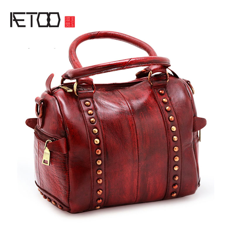 AETOO Bag new female handbag shoulder bag Messenger leather bag first qiaobao 2018 new korean version of the first layer of women s leather packet messenger bag female shoulder diagonal cross bag