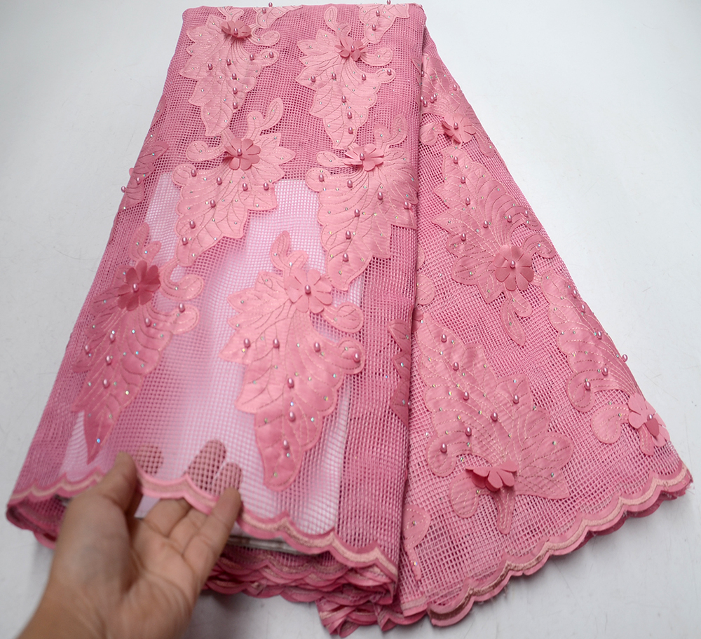 2019 New African Lace Fabrics High Quality Good Price Pink Beaded Unique Pattern Embroidery French Tulle Lace Fabric2019 New African Lace Fabrics High Quality Good Price Pink Beaded Unique Pattern Embroidery French Tulle Lace Fabric