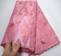 2019 New African Lace Fabrics High Quality Good Price Pink Beaded Unique Pattern Embroidery French Tulle Lace Fabric