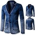 Primavera e verão novo padrão dos homens jaqueta Jeans terno