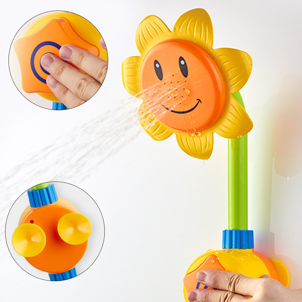 Baby Water Toys Kids Bath Tools Sunflower Water Shower Spray Bathtub Fountain Toy Faucet ...
