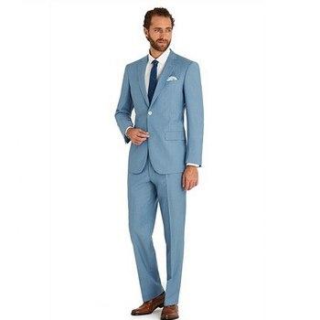 (Jacket+Pants) 2018 Custom Made Groom Tuxedos Men Light Blue Suits Jacket Pants Formal Dress Men Suit Wedding Suits