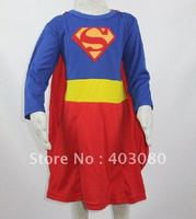 Wholesale Halloween Roll Play Apparel Baby Role Playing Clothing Kid Masquerade Party Girl Long Sleeve Superman