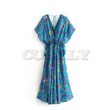 Vintage chic women Green peacock print V-neck rayon beach long Bohemian dress Ladies Tassel lace-up Summer Boho Maxi