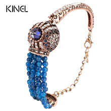 Kinel Natural Stone Bracelet Vintage Crystal Antique Bracelets For Women Gold Color Party Christmas Gift Turkish Jewelry
