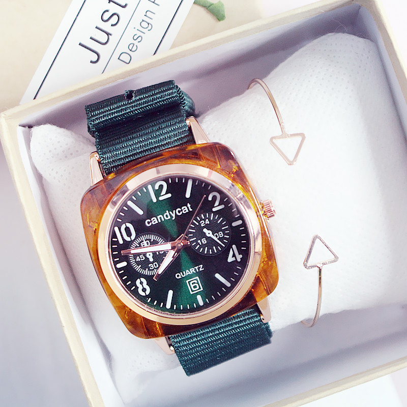 Reloj Mujer Women Watches Nylon Strap Square Green Wrist Watch Quartz Gift Clock Fashion Casual Ladies Watch Montre Femme Luxury