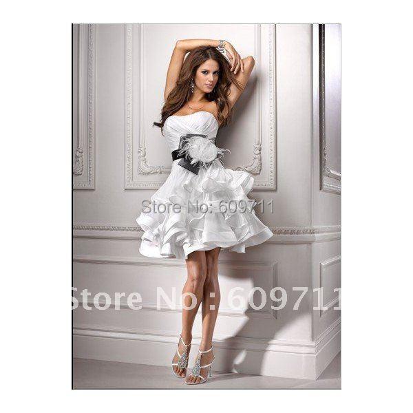 New Arrival Strapless Handmade Flower Sash Ruffle Organza Short Informal Wedding Dress WM007