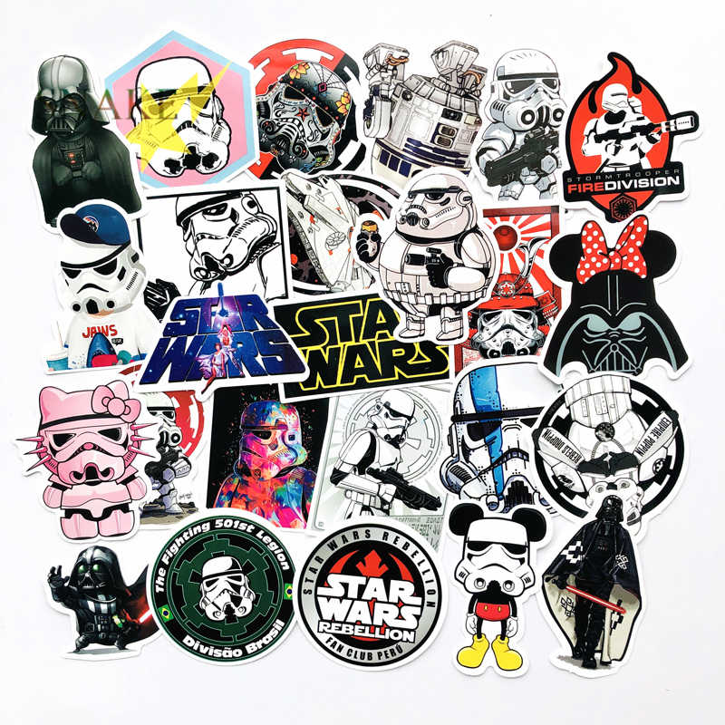 TD ZW 25Pcs/Set Cool Style Star Wars Waterproof Funny Stickers For Luggage Laptop Bike Motorcycle PhoneCase Car Decal Sticker