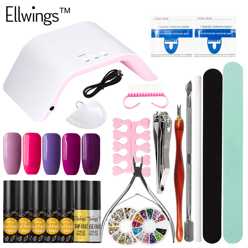 Ellwings Nail Art Sets 5pcs Colorful UV Nail Gel Varnish Top Base Coat Gel Nail Polish & 24W UV Lamp Nail Art Tools Kits nail art manicure tools set uv lamp 10 bottle soak off gel nail base gel top coat polish nail art manicure sets
