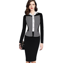 S-4XL Women False Two Pieces Vintage Slim Pencil Sheath Bodycon Dress Retro Wiggle Party Or Work Fitted Stretch Dresses N86