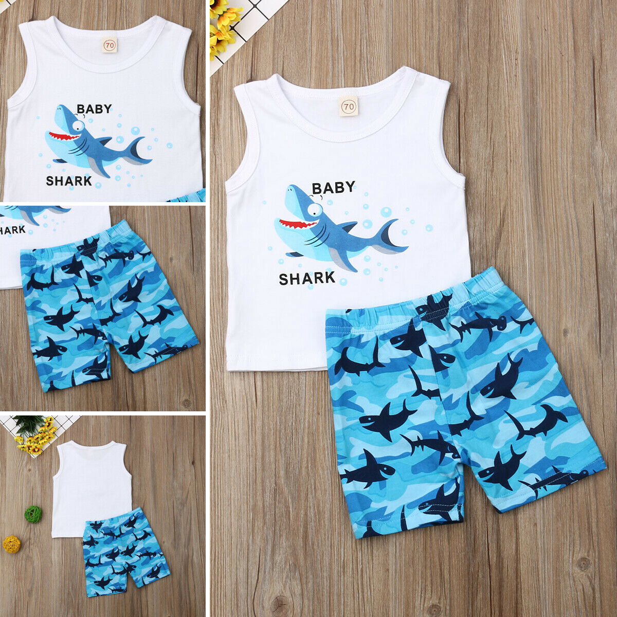 2PCS Baby Boy Girl Kids Cartoon Shark Letter Shirt Vest Tops+Shorts Outfits SS