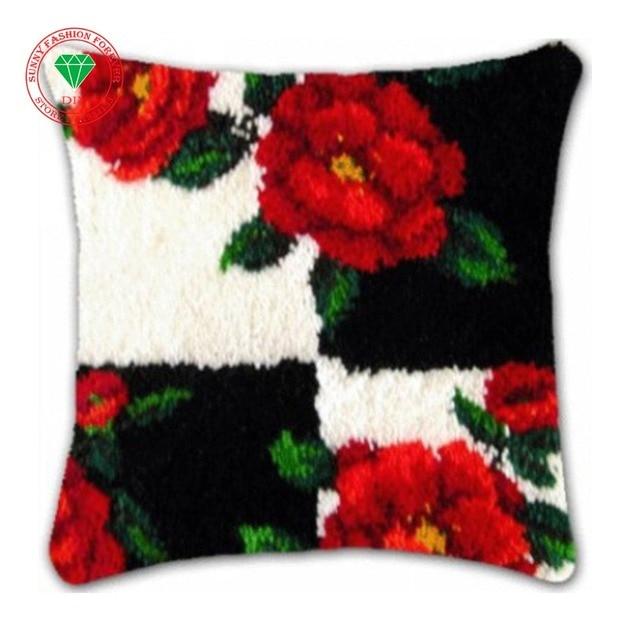 Flowers Latch Hook Rug Kits Cushion Diy Pillowcase Cross Sch Carpet Embroidery Thread