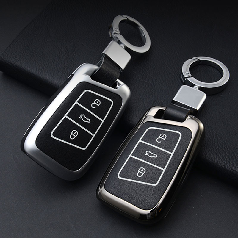 Zinc Alloy+Leather Key Case Cover For VW Polo Golf 7 Tiguan For Skoda Octavia Kodiaq Karoq For SEAT Ateca Leon Ibiza 2015-in Key Case for Car from Automobiles & Motorcycles