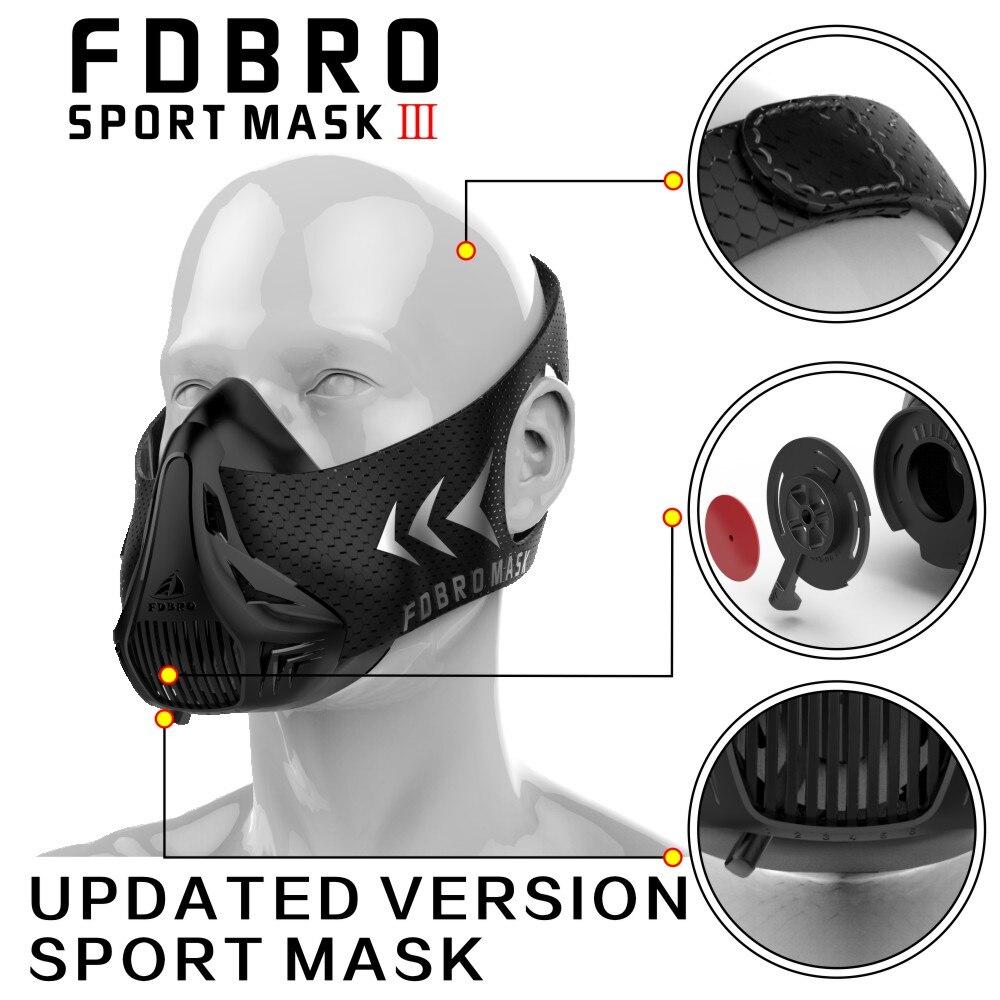 Nueva FDBRO Sport Fitness embalaje máscara Estilo negro de alta altitud entrenamiento máscara 2,0 máscara 3,0 máscara fantasma envío libre