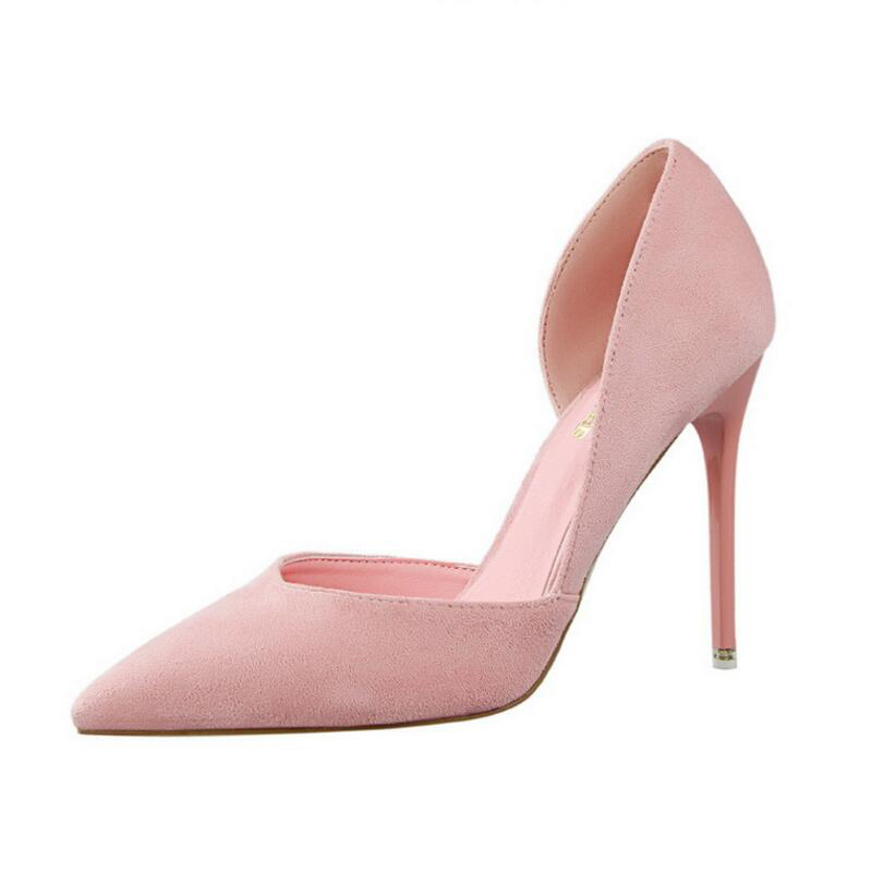 New Style Women Fashion Pointed Toe High Heels Flock Shallow Mouth Stilettos Female Concise Thin Pumps Sexy Party Wedding Shoes enmayer flock high heels classic black pointed toe slingback shoes women new fashion style spring autumn women pumps for party