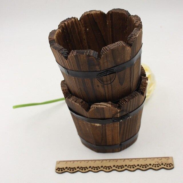 1 pcs Gris bois artificielle pots de fleurs sapin clôture bol pots ...