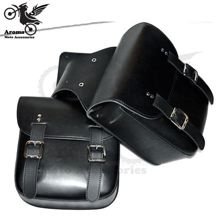 2 Colors Brown Black Durable Moto Part Motorbike Saddle Bags Pouch Fit For Harley Moto Parts PU Leather Motorcycle Saddlebags