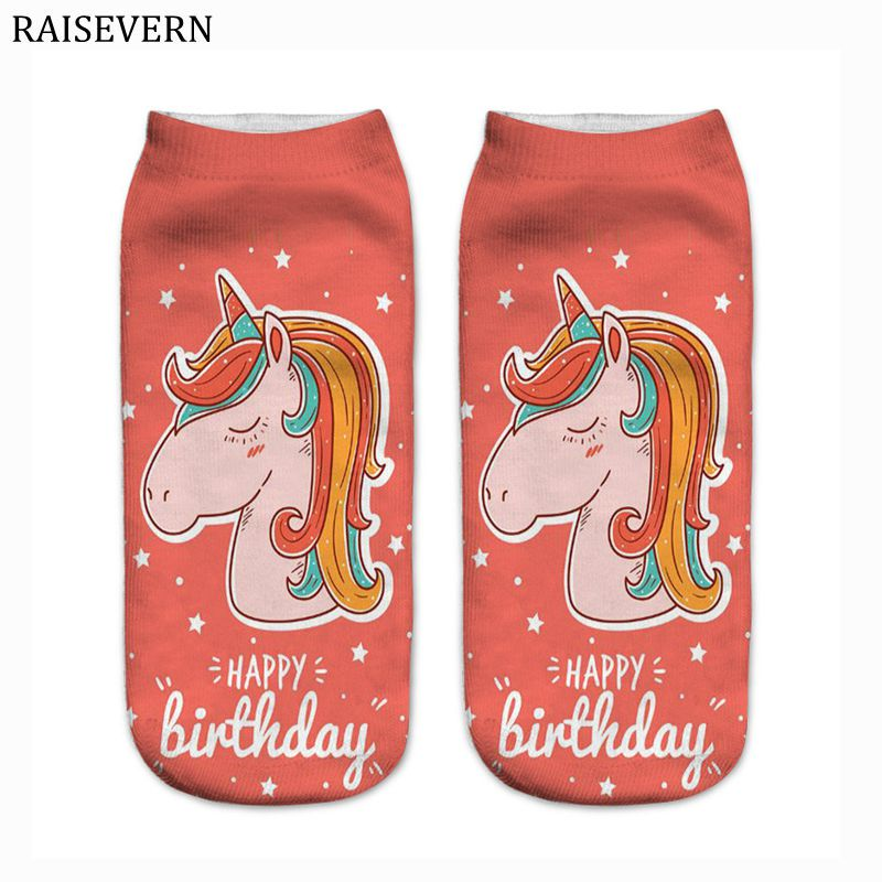 Men Socks Unicorn Happy Birthday Harajuku Cotton 3D Print Men Kawaii Calcetines Femme Mujer Summer Funny Ankle Socks for Men
