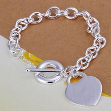 Fina del verano del estilo de plata chapada pulsera 925-sterling-silver joyería bijouterie heart chain pulseras para mujeres hombres SB274