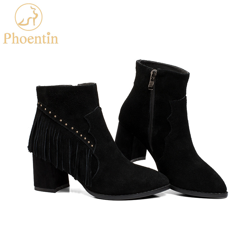Phoentin fringe boots with zip genuine leather boots women cow seude woman shoes 2017 autumn pointed toe high square heel FT187 czrbt genuine leather boots women fashion pointed toe thick heel high heel boots spring autumn cow leather women chelsea boots