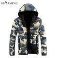 2016 Nova Moda Homens Jaqueta de Inverno Jaquetas Parka Hombre Invierno Camuflagem Quente Capuz Casaco NSWT120