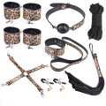 Leopard Grain Erotic Positioning Bandage 10Pcs BDSM Bondage Restraints Set Wrist Cuffs Whip Collar Fetish SM Sex Game Toys J40