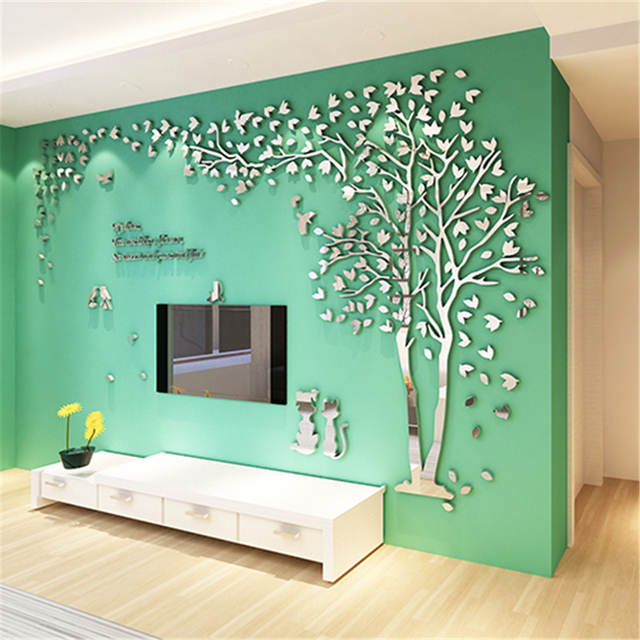 New mirror wall stickers cat tree 3d stereo acrylic wall sticker home decor living room sofa