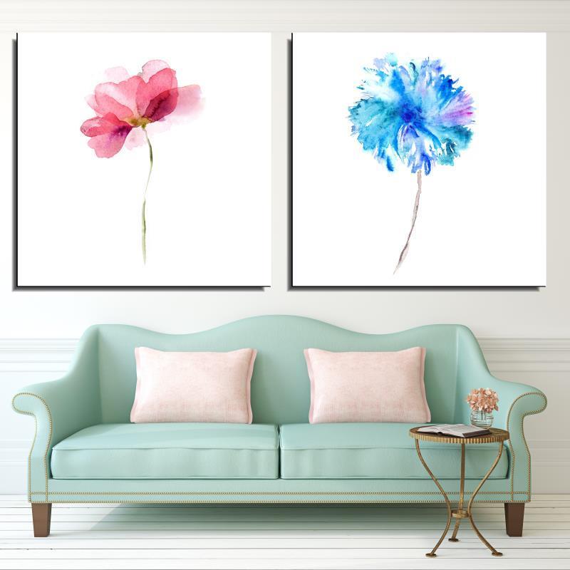 Frameless Canvas Art Oil Painting Flower Painting Design: Watercolor Rose Rose Lotus Flower Abstract Spray Oil