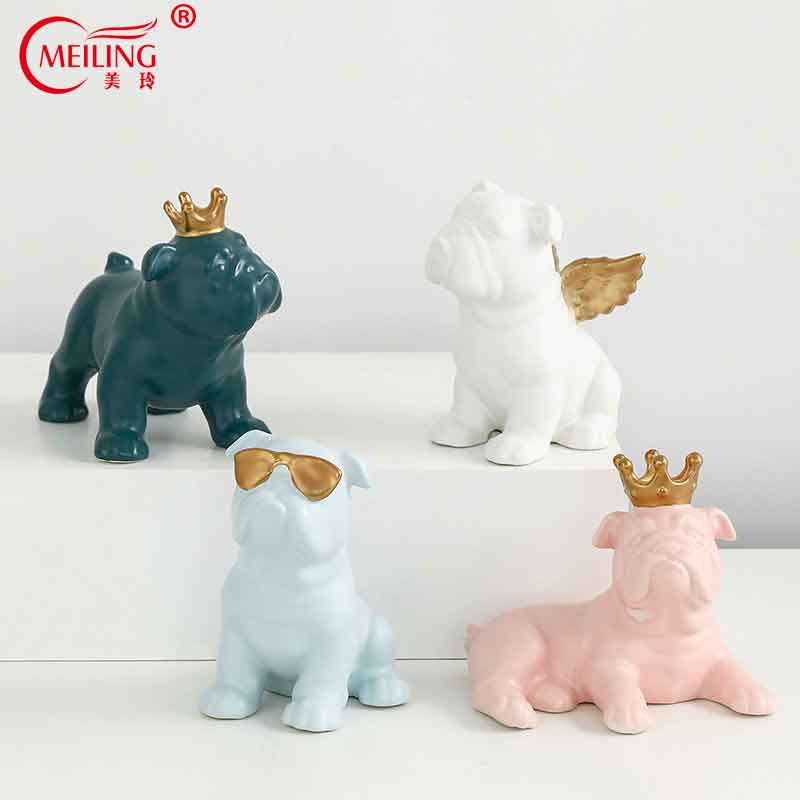 Nordic Macaron Color French Bulldog Ceramic Figurines Collectibles For Home Decor Weddings Centerpieces Porcelain Animal Statues