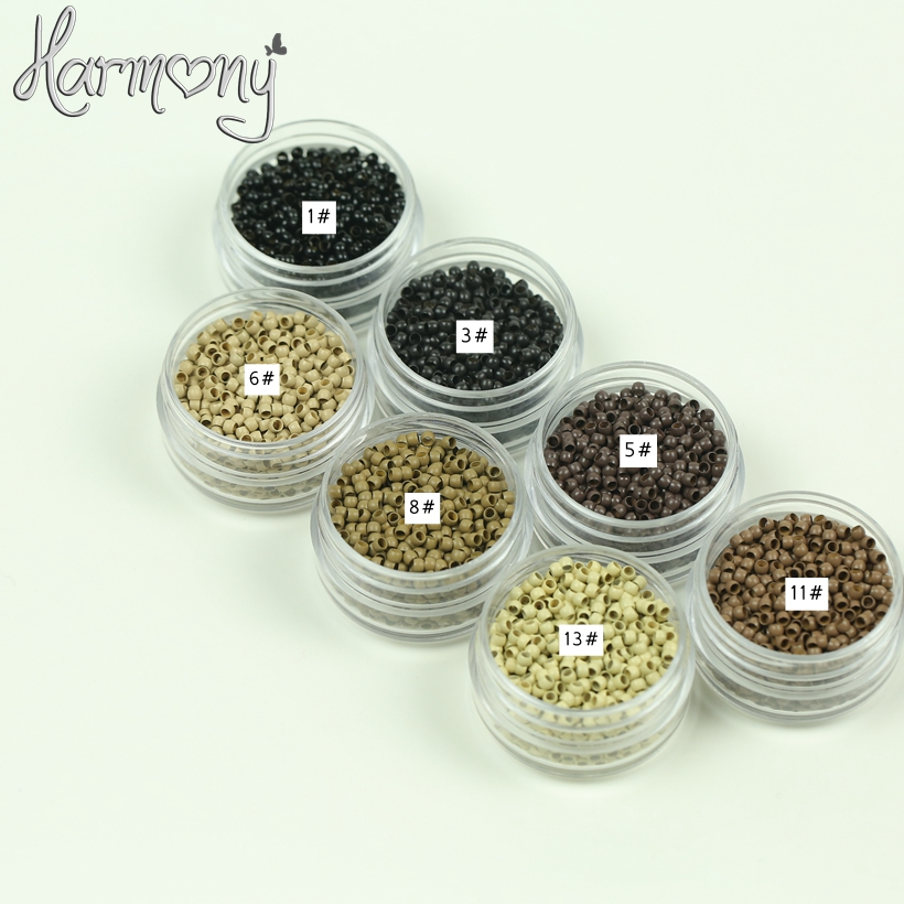 1000pcs/Bottle 2.9mmx1.6mmx2.0mm Micro Copper silicone nano ring link beads Hair Extensions tools 7 colors