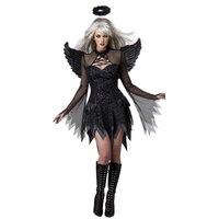 VESTLINDA Hot Dress Black Cosplay Suit Exotic Apparel Sexy Adult Dark Devil Fallen Angel Halloween Costume