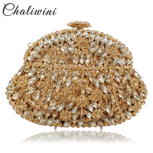 Chaliwini Dazzling Wine Pot Gray Crystal Diamond Evening Bag Metal Hard Case Minaudiere Handbag Purse Wedding Party Clutch xiyuan brand pineapple shape red yellow crystal women evening purse metal clutch bag wedding dinner minaudiere handbag wallet