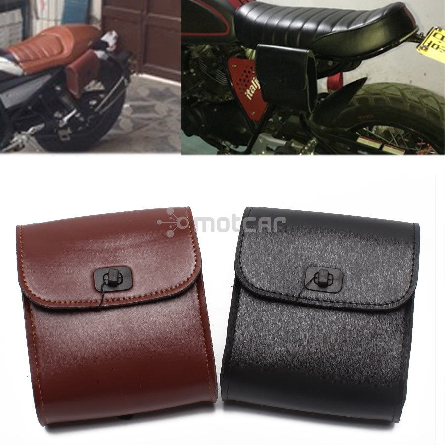1x Black/Brown PU Leather Motorcycle Luggage Tool Side Bag Saddlebag Tool Bag Universal Fit For Harley Honda Suzuki Kawasaki