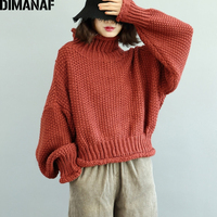 DIMANAF Women Sweater Winter Plus Size Thick Turtleneck Female Lady Basic Cotton Knitting Pullovers Casual Batwing Clothing 2018