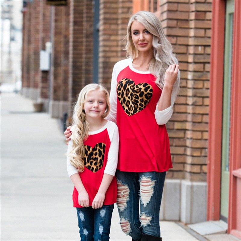 Family Matching T-Shirts Outfits Kids Casual Hot Heart XL Summer Leopard Tops Women