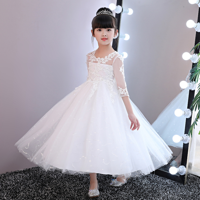 New Flower Girls White Lace Dresses For New Year Clothes Party Baby Girls Princess Wedding Dress Children Party Vestido Infantil