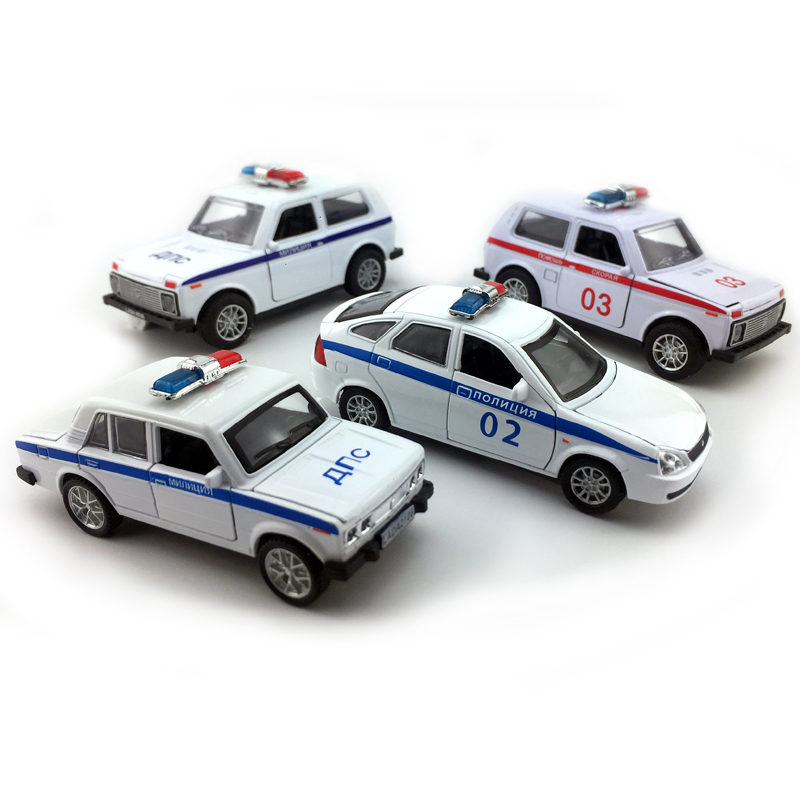 1:32 Scale Lada Niva/Priora/2106 Russian Police Toy Car, Diecast Models Vehicle Collectible Toys, Pull Back Function/Music/Light