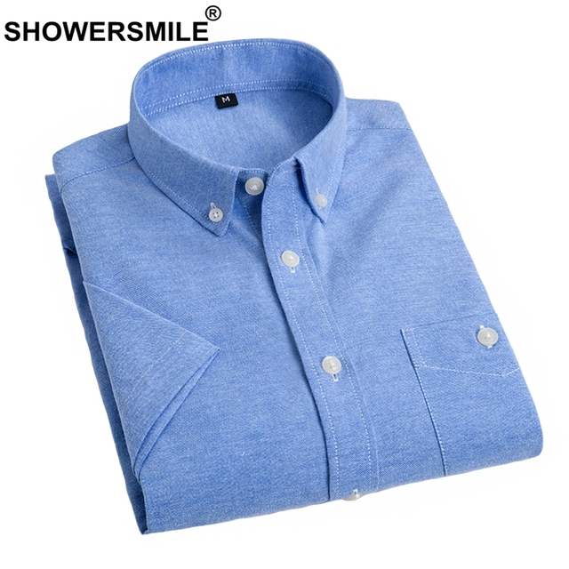 b34049bad49 SHOWERSMILE Solid Oxford Shirt Summer British Style Men Dress Shirts Short  Sleeve Blue Cotton Shirt Slim Fit Plain Male Clothing