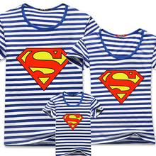 2016 New Family Look Superstar Superman Stripe T Shirts Summer Family Matching Clothes Mom Dad Son