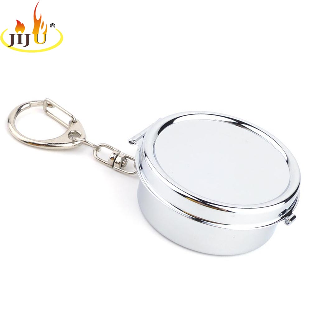 JIJU Portable Pocket With Lids Ashtray Stainless Steel Gift For Male Ashtray With Keychain Ashtray Mini Outdoor Ashtray JL-202S