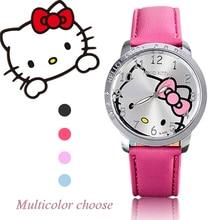 2016 New Fashion Brand Hello kitty watch Women Dress kids hellokitty Watches Cartoon Leather Quartz wristwatch montre enfant