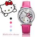 2016 Nova Marca de Moda Olá kitty assista As Mulheres Se Vestem crianças hellokitty Relógios de Quartzo de Couro Dos Desenhos Animados relógio de pulso montre enfant
