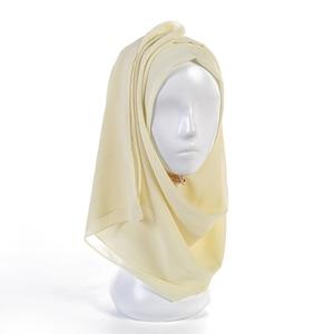 Image 2 - Vlakte Bubble Chiffon Sjaal Hijab Vrouwen Wrap Printe Effen Kleur Sjaals Hoofdband Moslim Hijaabs Sjaals/Sjaal 55 Kleuren