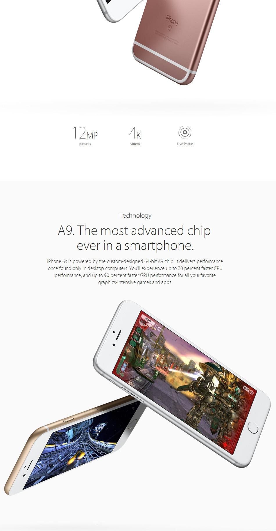"""6S разблокированный Apple iPhone 6S Plus смартфон 4,"""" IOS 16 Гб/64/128 ГБ Встроенная память 2 Гб оперативной памяти 12.0MP двухъядерный A9 4 аппарат не привязан к оператору сотовой связи для б/у мобильных телефонов"""