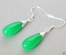 women jewelry Brincos earring Pendientes Natural Green Jade Pair Pink Opal 925 Sterling Silver Hook Teardrop Dangle Earrings bling jewelry 925 sterling silver teardrop hook earrings