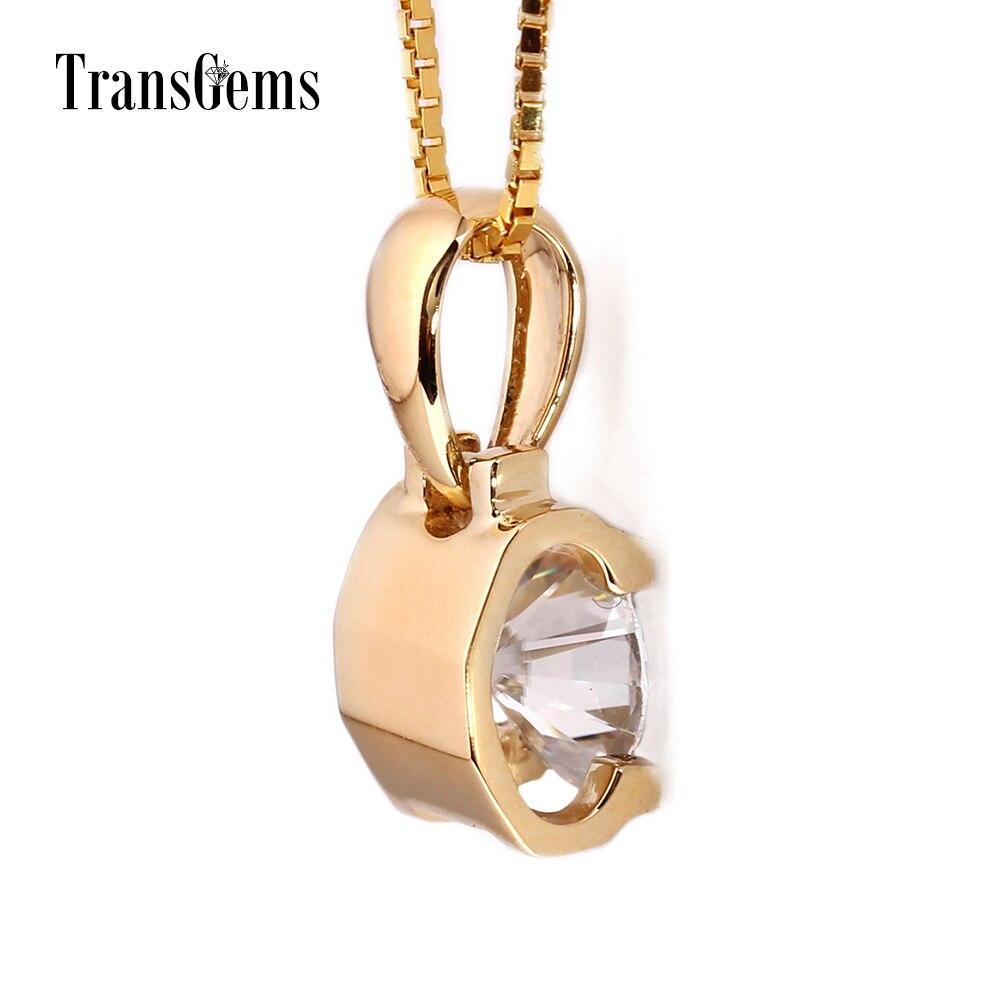TransGems 18 Karat Gelbgold 1 Karat 6,5 mm Labor Moissanite Diamant - Edlen Schmuck - Foto 3
