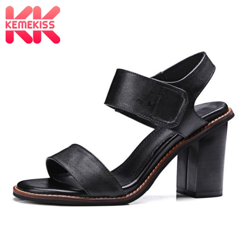 KemeKiss Elegant Women Real Leather High Heels Sandals Summer Open Toe Sandals Office Daily Shoes Woman Footwears Size 33-43 mvvjke summer women shoes woman genuine leather flat sandals casual open toe sandals women sandals