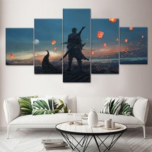 5 Pieces HD Printed Canvas Painting Ghost Blade Animation Poster Modern Wall Art For Decorative Bedroom Living Room Frame