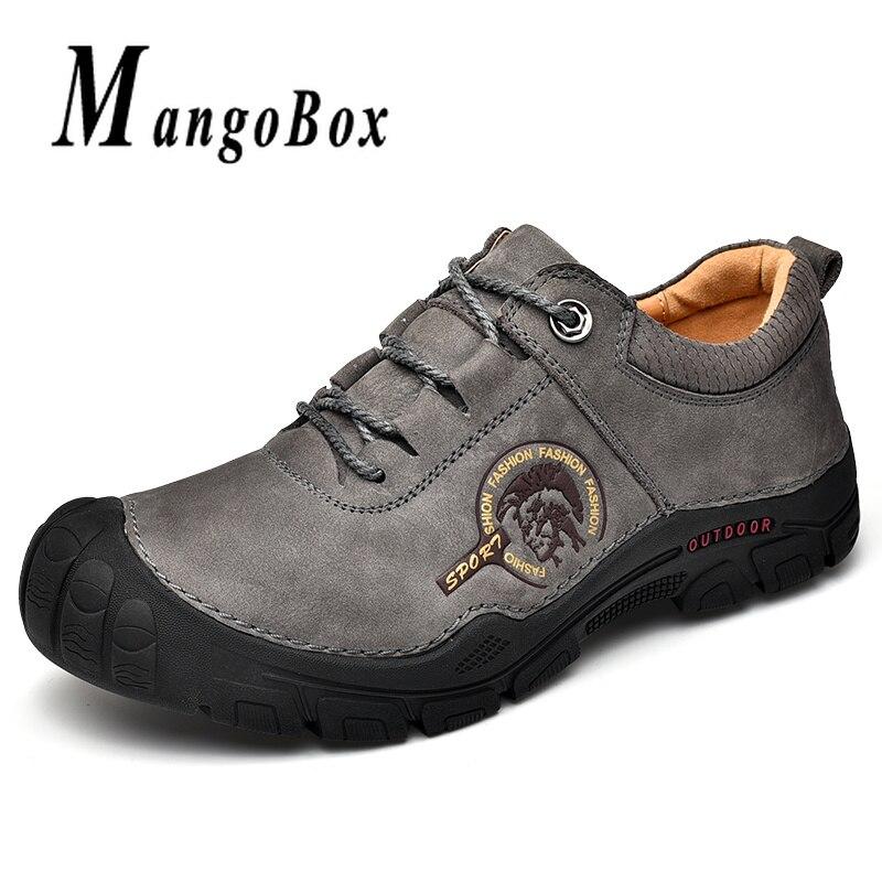 Cuir véritable, homme chaussures de camping Gris Chameau En Plein Air chaussures hommes Portable Trekking Hommes chaussures de randonnée semelle en caoutchouc Hommes Sneakers